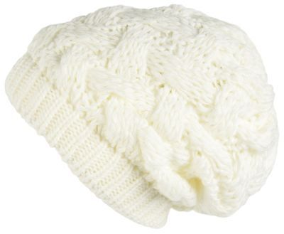 Lilax Cable Knit Slouchy Chunky Oversized Soft Warm Winter Beanie Hat White