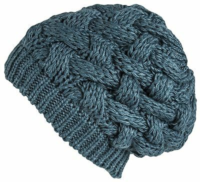 Lilax Cable Knit Slouchy Chunky Oversized Soft Warm Winter Beanie Hat Teal