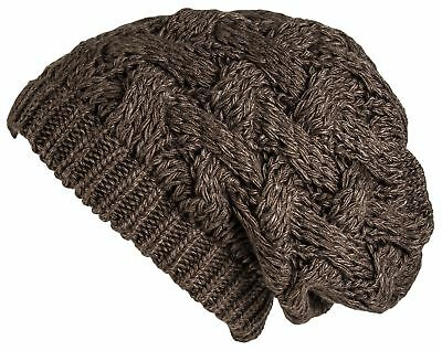 Lilax Cable Knit Slouchy Chunky Oversized Soft Warm Winter Beanie Hat Brown