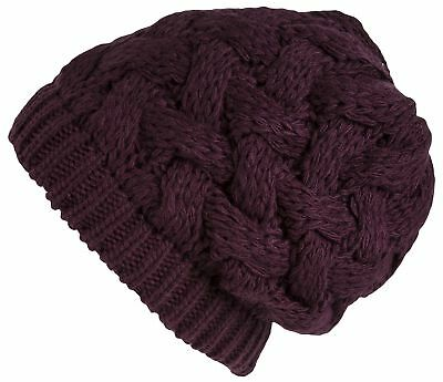 Lilax Cable Knit Slouchy Chunky Oversized Soft Warm Winter Beanie Hat Purple