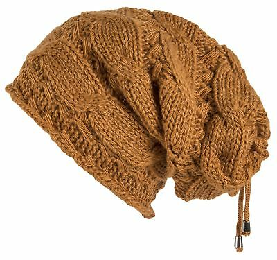 Lilax Cable Knit Slouchy Chunky Oversized Soft Warm Winter Beanie Hat Mustard