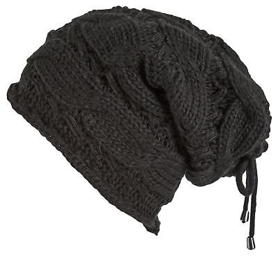 Lilax Cable Knit Slouchy Chunky Oversized Soft Warm Winter Beanie Hat Black