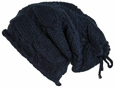 Lilax Cable Knit Slouchy Chunky Oversized Soft Warm Winter Beanie Hat Navy