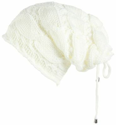 Lilax Cable Knit Slouchy Chunky Oversized Soft Warm Winter Beanie Hat Ivory
