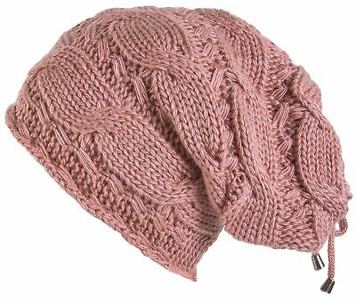 Lilax Cable Knit Slouchy Chunky Oversized Soft Warm Winter Beanie Hat Pink