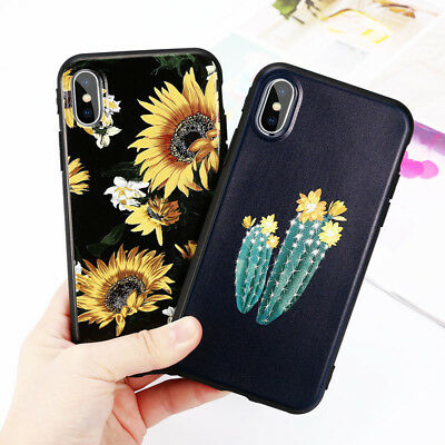For iPhone X XMA XR XS 6 7 8plus case Sunflower Cactus pattern Soft Phone case