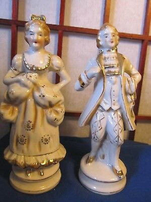 Pair Of French Provincial Courtesan Figurines Gold Rimmed Made In Occupied Japan