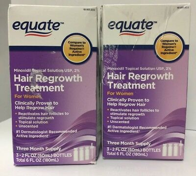 EQUATE 2% Topical Solution USP HAIR REGROWTH TREATMENT For Women NEW 6 Months
