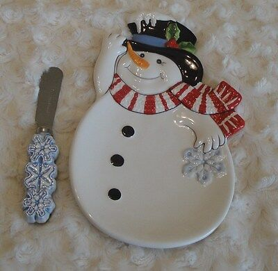 FITZ AND FLOYD *+Snow Days+* Snack Plate & Spreader*New In Box*