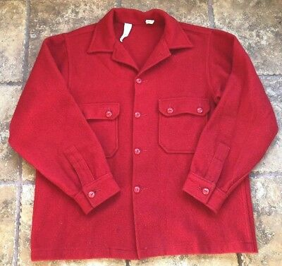 Vintage Boy Scouts Of America Official Wool Blend Jacket Shirt Coat Sz 46 Long