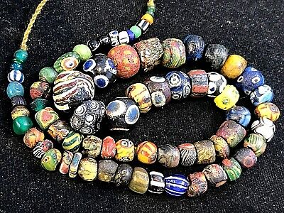 Fine Authentic Ancient Roman Islamic Mosaic Glass Bead 250BC-650AD TO Condition