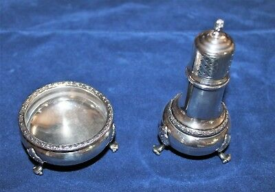 Antique Sterling Pepper shaker and Salt cellar by Frank Whiting Talisman Rose