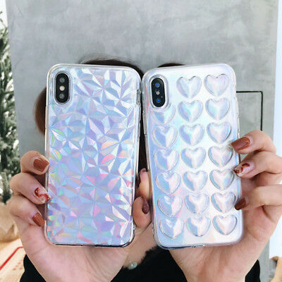 For iPhone XS MAX XR X 7 6 6s 8 Plus 3D Heart Soft Laser Skin soft Phone case