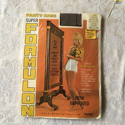 Vintage super formulon grey nude nylon pantyhose w panties one size w/ model