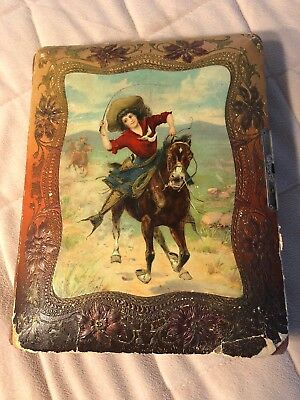 Antique Early 1900s Photo Album Annie Oakely Scene w/some Vintage Photos