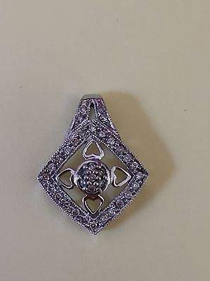 Vintage 14K Solid White Gold & Natural Diamonds Charm