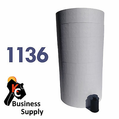 REMOVEABLE White labels for Monarch 1136 and 1138 price gun 1 sleeve = 8 rolls