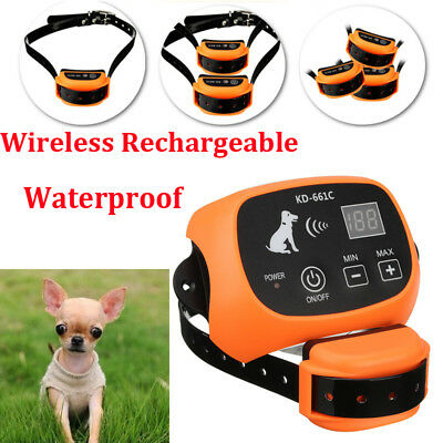 Orange Wireless Rechargeable 1/2/3 Dog Fence Pet Containment Systems Waterproof
