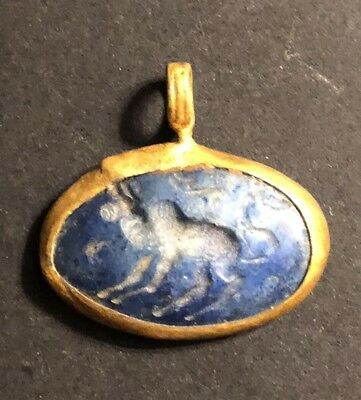 Ancient Middle East Lapis Lazuli Gold Gilded Intaglio Stone Signet Pendant Charm