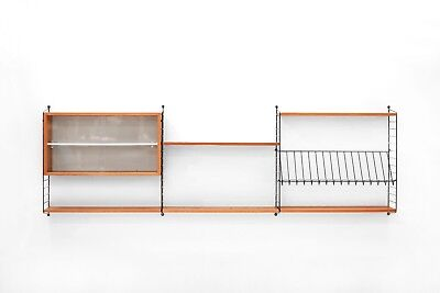 Regal System STRING TEAK Vintage 60s shelving wall unit 60er Danish Sideboard