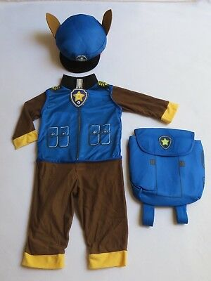 new paw patrol chase boy size 2t 3t halloween costume no sound jumpsuit backpack
