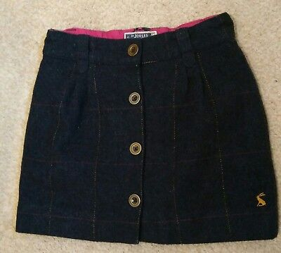Joules Cordelia Girls Tweed Wool Skirt age 6 years (size 5-6) Navy check VGC