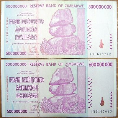 2x Zimbabwe 500 Million. BLOWOUT! 100% Genuine. 50 in Stock. Trillions in Store.