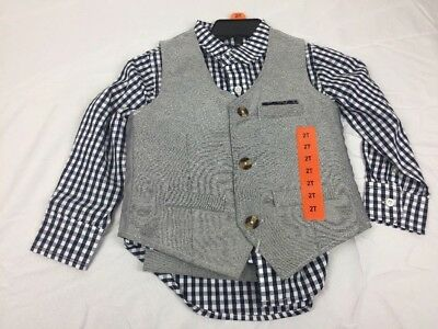 Andy & Evan 3 Piece Boys Vest Set- 2T - Gray & Blue - Shirt, Vest, Pants