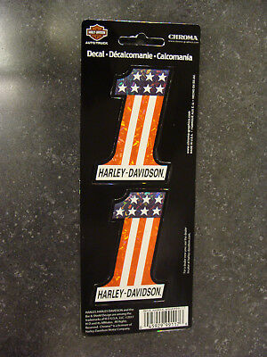 Harley-Davidson® 2 Red, White and Blue #1 Holographic Decals - 99117