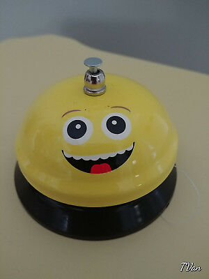 EMOJI Service Bell  Counter Desk Ringer Happy Smiling Open Eyes Graphic Yellow