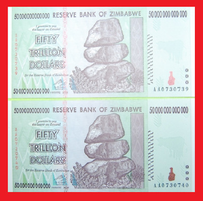2x Zimbabwe 50 Trillion. (100 Trillion Total) BLOWOUT! 2008 AA. Uncirculated.
