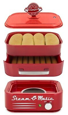 Red All In One Steam-O-Matic Hot Dog Steamer Red Bun Warmer Cover Tray NEW USA