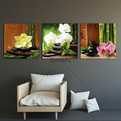 Zen Basalt Stones Flowers Bamboo Canvas Painting Wall Art Pictures 3 Panels