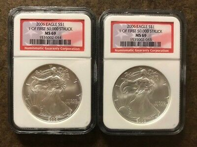 Two 2006 NGC MS69 American Silver Eagle Coins - No Reserve