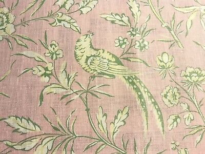 "Scalamandre ""aviary"" Pink Linen Remnant, 15 1/2"" X 18"""