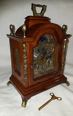 vintage Dutch Mantle Bracket Shelf table Clock moonphase WARMINK WUBA works fine