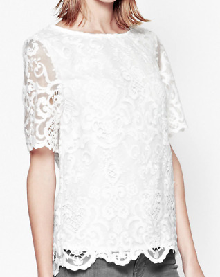 46f92bc0b4 French Connection Nebraska Lace Tunic Top Blouse - Summer White - Size US 8  NEW