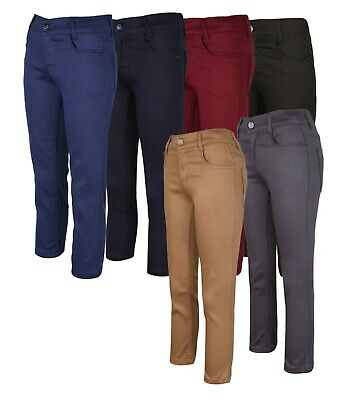 Kids Boys Casual Stretch Chino Trousers in Navy Blue Burgundy Black Age 3 to 16