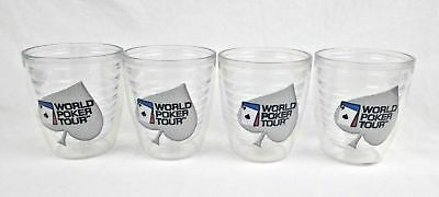 "World Poker Tour Tervis Tumbler Lot Of 4 Drink Cup Party Gambling 4 1/4"" Tall"