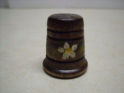 Vintage Wood Wooden Hand painted Flower Collectible Sewing Thimble signed SW