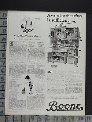 1924 Boone Cabinet Kitchen Housewife Cook Home Decor Vintage Art Ad  Cn45