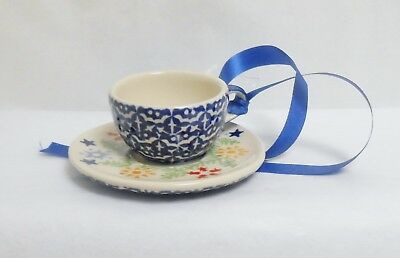 Boleslawiec Polish Pottery CUP & SAUCER Garland Pattern Christmas Ornament NWT