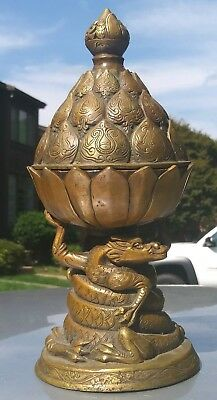 Vintage Asian Bronze Brass Dragons holding lotus flowerr Censer Incense Burner