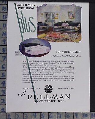 1925 Pullman Davenport Couch Bed Furnish Suite Home Decor Vintage Art Ad  Cr74