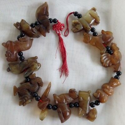 Vintage Set of 12 Carved Brown Jade Chinese Zodiac Animals Rat Ox Tiger Horse +