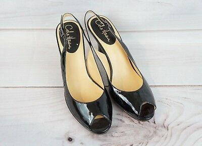 e050a8ef62 EUC Cole Haan Womens 9B Black Pumps Heels Shoes NikeAir Open Peep Toe Carma