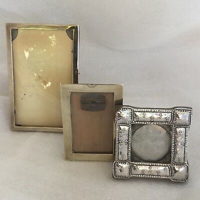 Collection Of 3 Vintage/antique Small Photo Frames, One Brass - Shabby Chic