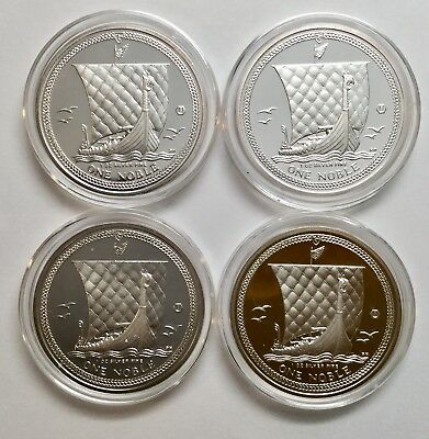 Lot Of 4 2011 Isle Of Man 1 oz Silver One Noble Uncirculated Coins, Capsules (D)