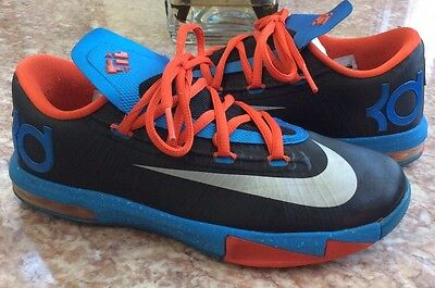Nike KD VI Youth Black Blue Orange Basketball Sneaker Size 4Y #599477-002 EUC!