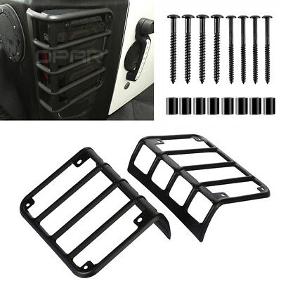 Pair Matte Black Euro Iron Taillight Guard Cover For Jeep Wrangler 2007-2018 JK